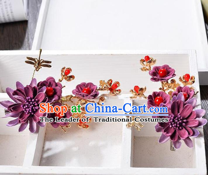 Top Grade Handmade Chinese Classical Hair Accessories Princess Wedding Baroque Headwear Purple Flowers Headband Hair Stick for Women