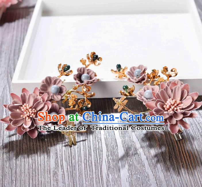 Top Grade Handmade Chinese Classical Hair Accessories Princess Wedding Baroque Headwear Pink Flowers Headband Hair Stick for Women