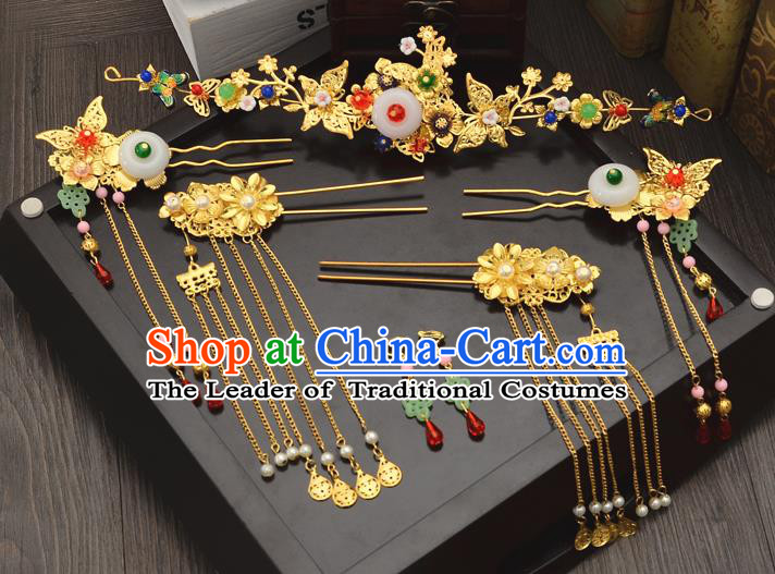 Traditional Handmade Chinese Wedding Xiuhe Suit Bride Hair Accessories Golden Tassel Phoenix Coronet Complete Set, Step Shake Hanfu Hairpins for Women