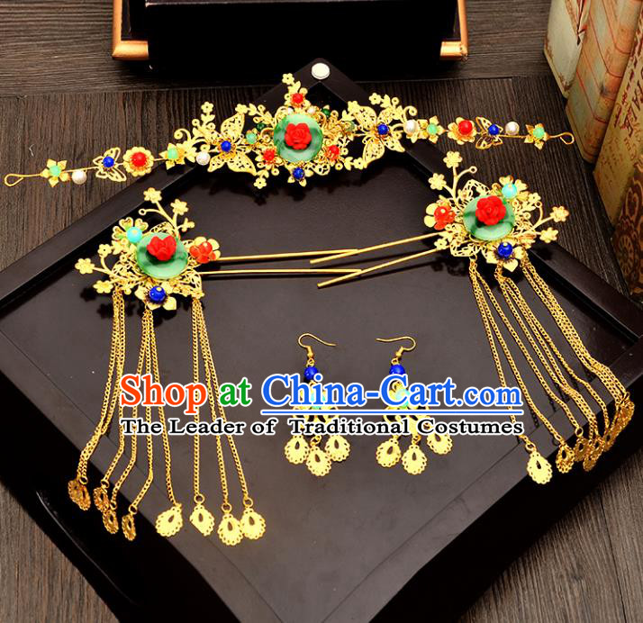 Traditional Handmade Chinese Wedding Xiuhe Suit Bride Hair Accessories Tassel Phoenix Coronet Complete Set, Green Jade Step Shake Hanfu Hairpins for Women