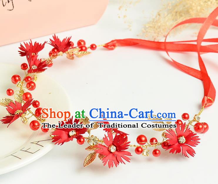 Top Grade Handmade Chinese Classical Hair Accessories Princess Wedding Baroque Headwear Red Flowers Headband Hair Clasp for Women