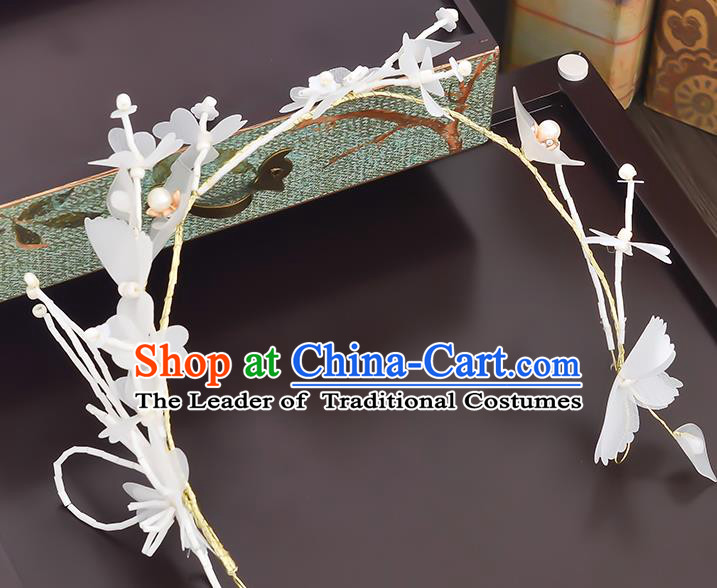 Top Grade Handmade Chinese Classical Hair Accessories Princess Wedding Baroque Headwear White Flowers Headband Hair Clasp for Women