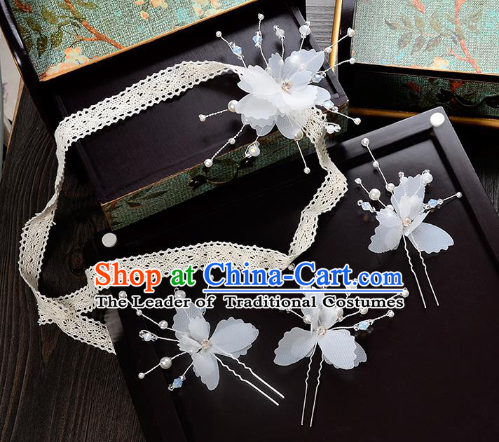 Top Grade Handmade Chinese Classical Hair Accessories Princess Wedding Baroque Headwear Flowers Hair Clasp Lace Headband for Women
