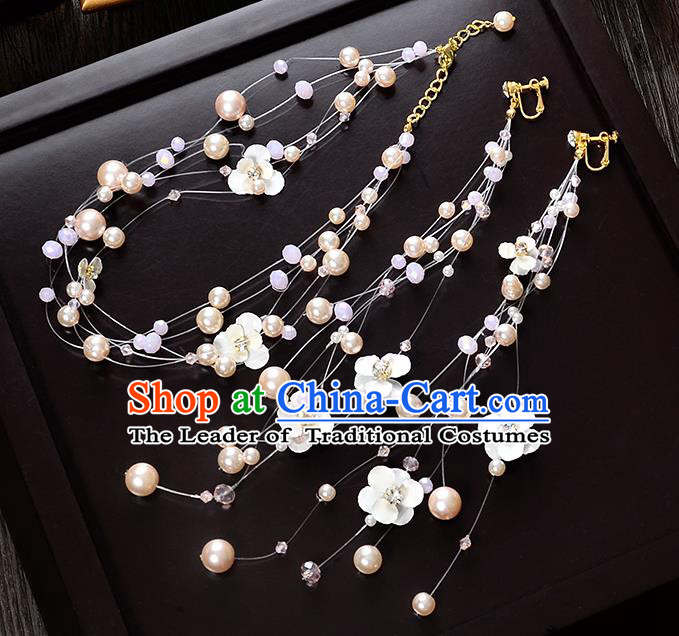Top Grade Handmade Chinese Classical Hair Accessories Princess Wedding Baroque Headwear Pearls Hair Clasp Lace Headband for Women