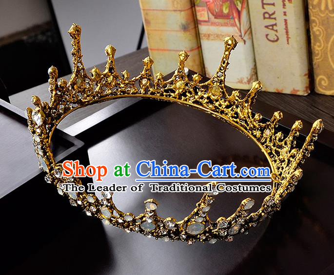 Top Grade Handmade Hair Accessories Baroque Crystal Opal Vintage Imperial Crown, Bride Wedding Hair Jewellery Queen Crown for Women