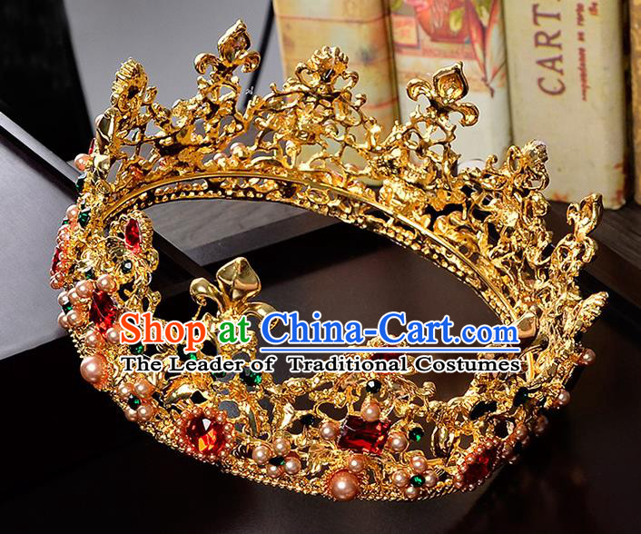 Top Grade Handmade Hair Accessories Baroque Crystal Opal Vintage Round Golden Imperial Crown, Bride Wedding Hair Jewellery Queen Crown for Women