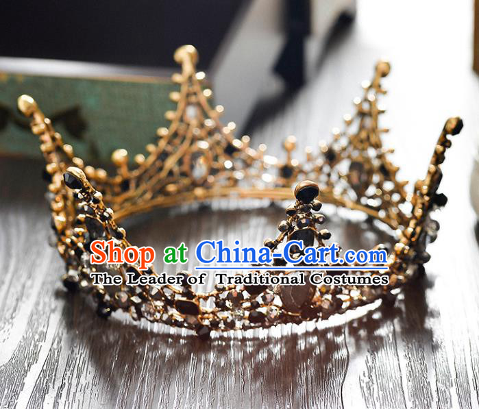 Top Grade Handmade Hair Accessories Baroque Crystal Vintage Round Black Imperial Crown, Bride Wedding Hair Jewellery Queen Crown for Women