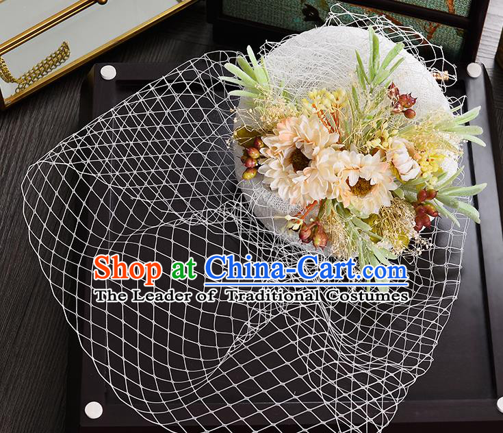 Top Grade Handmade Chinese Classical Hair Accessories Princess Wedding Baroque Headwear Flowers Hat Bride Top Hat for Women