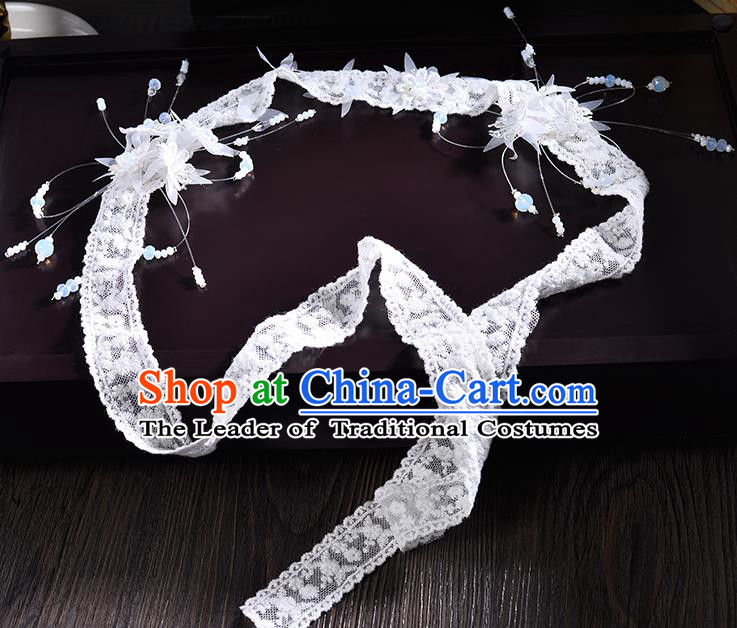 Top Grade Handmade Chinese Classical Hair Accessories Princess Wedding Baroque Headwear Lace Headband Bride Hair Clasp for Women