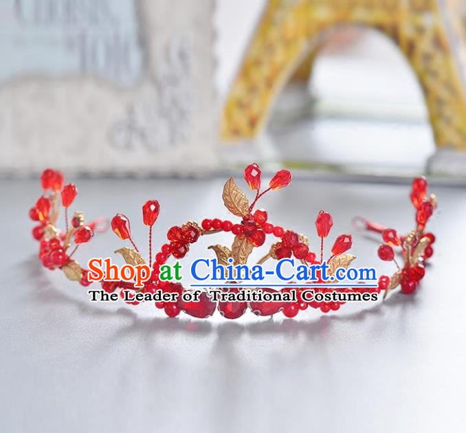 Top Grade Handmade Chinese Classical Hair Accessories Princess Wedding Baroque Headwear Red Crystal Hair Clasp Bride Headband for Women