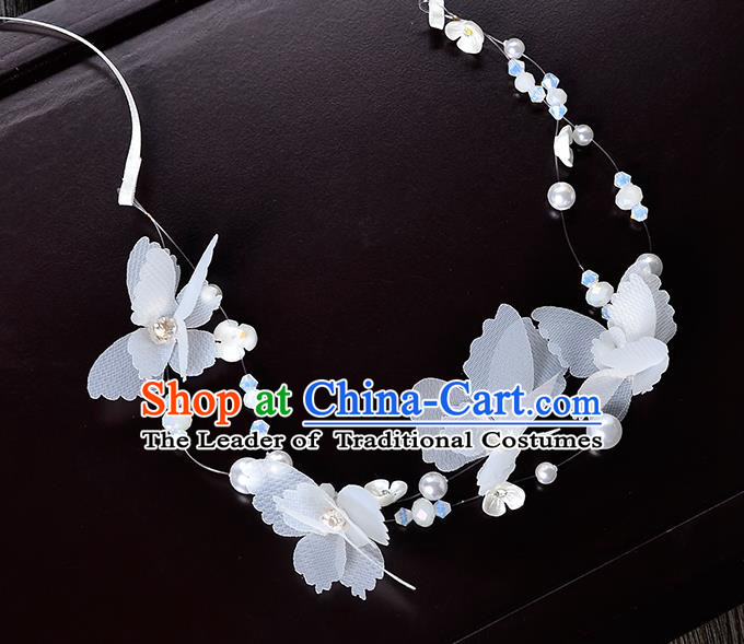 Top Grade Handmade Chinese Classical Hair Accessories Princess Wedding Baroque Headwear White Flower Pearls Headband Bride Hair Clasp for Women