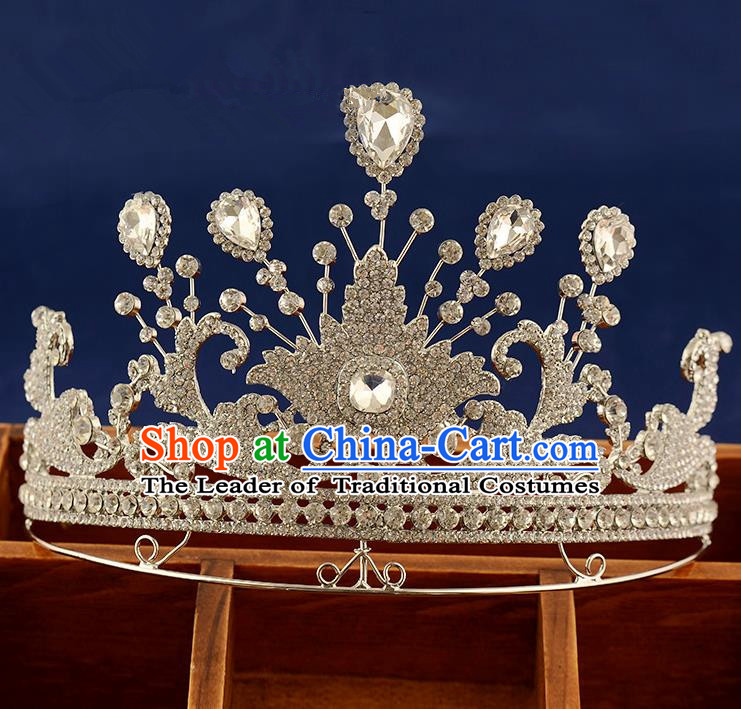 Top Grade Handmade Hair Accessories Baroque Queen Crystal Royal Crown, Bride Wedding Hair Jewellery Princess Imperial Crown for Women