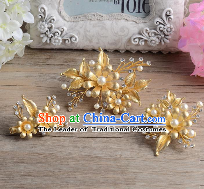 Top Grade Handmade Chinese Classical Hair Accessories Princess Wedding Baroque Golden Headwear Pearls Hair Stick Bride Hair Claw for Women