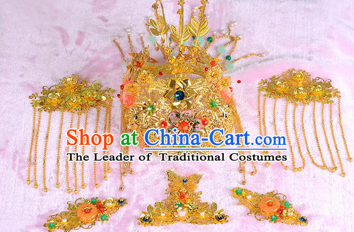 Traditional Handmade Chinese Wedding Xiuhe Suit Bride Hair Accessories Complete Set Empress Phoenix Coronet, Step Shake Hanfu Hairpins for Women