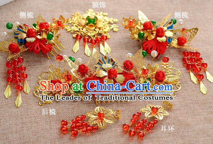 Traditional Handmade Chinese Wedding Xiuhe Suit Bride Hair Accessories Complete Set Chinese Knots Hair Comb, Step Shake Hanfu Hairpins for Women