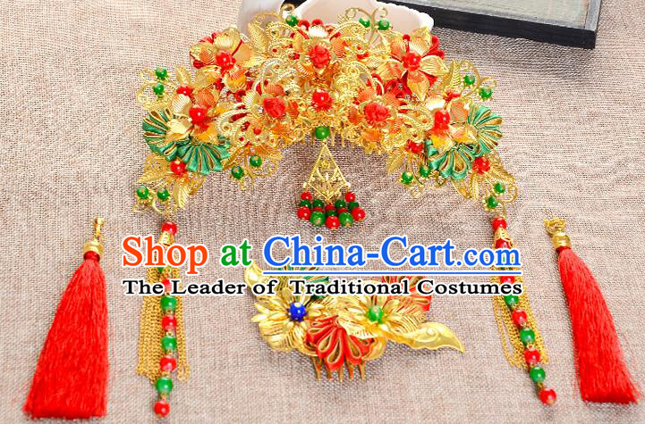Traditional Handmade Chinese Wedding Xiuhe Suit Bride Hair Accessories Complete Set Tassel Hair Comb, Phoenix Coronet Step Shake Hanfu Hairpins for Women