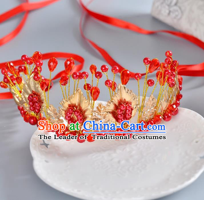 Top Grade Handmade Chinese Classical Hair Accessories Princess Wedding Baroque Headwear Red Beads Hair Clasp Bride Headband for Women