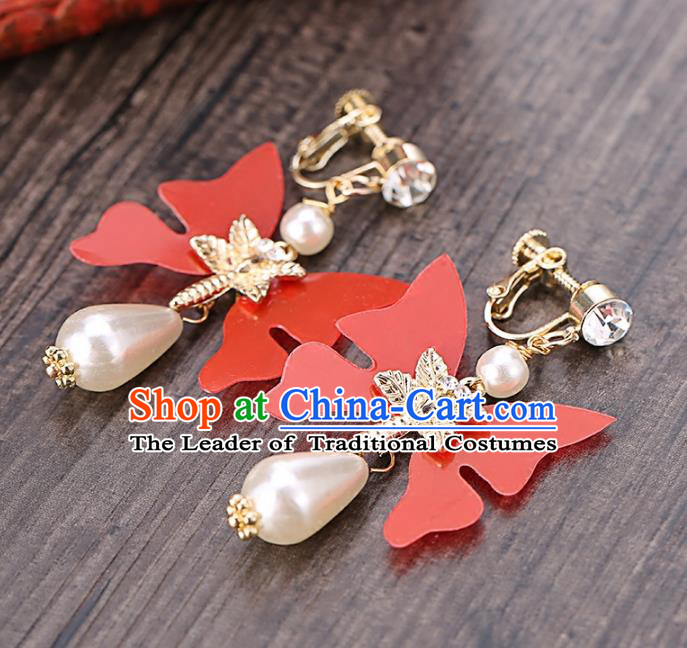 Top Grade Handmade Chinese Classical Jewelry Accessories Wedding Red Butterfly Tassel Ear Stud Bride Hanfu Earrings for Women
