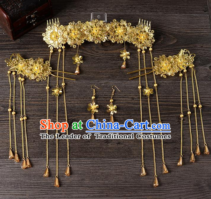 Traditional Handmade Chinese Wedding Xiuhe Suit Bride Hair Accessories Complete Set, Tassel Phoenix Coronet Step Shake Hanfu Hairpins for Women