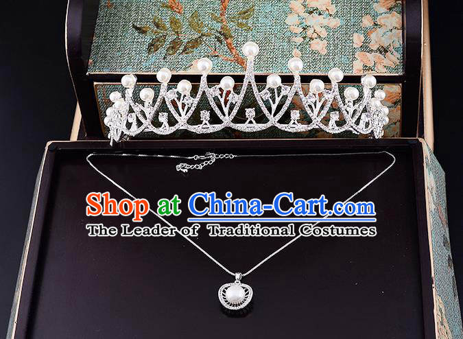 Top Grade Handmade Chinese Classical Jewelry Accessories Wedding Crystal Pearls Royal Crown and Necklace Earrings Bride Hanfu Headgear for Women
