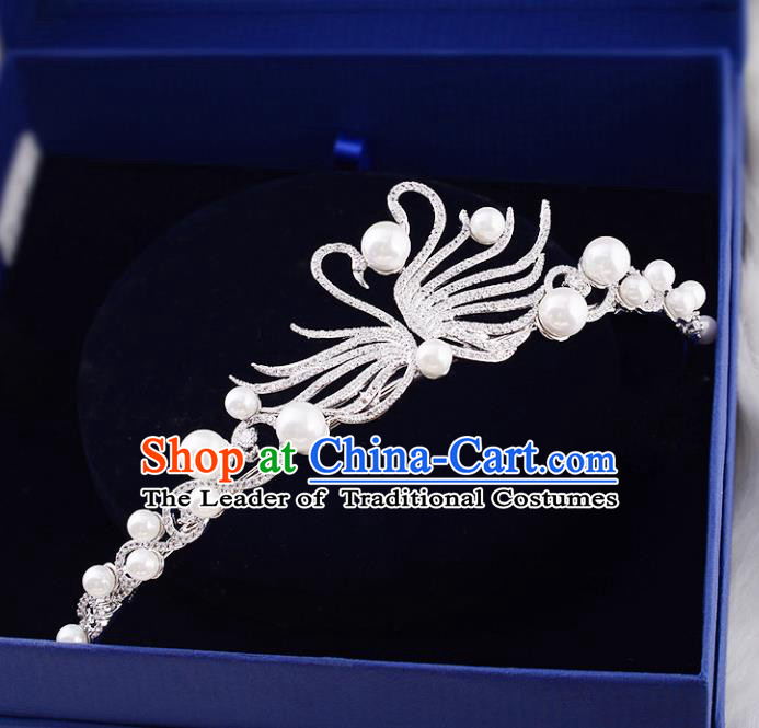 Top Grade Handmade Hair Accessories Baroque Crystal Swan Imperial Crown, Bride Wedding Hair Jewellery Princess Pearls Crown for Women