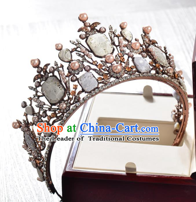 Top Grade Handmade Hair Accessories Baroque Costly Diamond Imperial Crown, Bride Wedding Hair Jewellery Princess Pearls Crown for Women