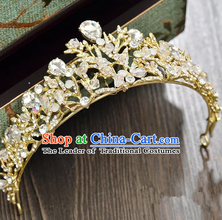 Top Grade Handmade Hair Accessories Baroque Golden Imperial Crown, Bride Wedding Hair Jewellery Princess Crystal Crown for Women