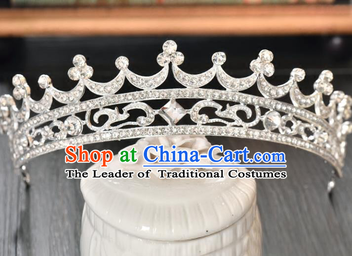 Top Grade Handmade Hair Accessories Baroque Rhinestone Imperial Crown, Bride Wedding Hair Jewellery Princess Crystal Crown for Women