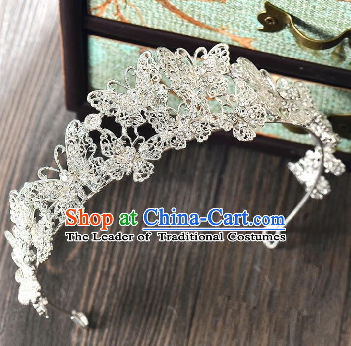 Top Grade Handmade Hair Accessories Baroque Rhinestone Butterfly Imperial Crown, Bride Wedding Hair Jewellery Princess Crystal Crown for Women