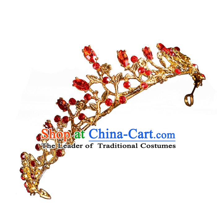 Top Grade Handmade Hair Accessories Baroque Red Rhinestone Imperial Crown, Bride Wedding Hair Jewellery Princess Crystal Golden Crown for Women
