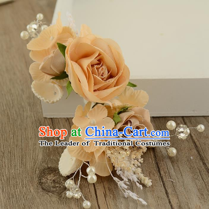 Top Grade Handmade Chinese Classical Hair Accessories Princess Wedding Baroque Hair Claw Headwear Orange Flowers Bride Hair Stick for Women
