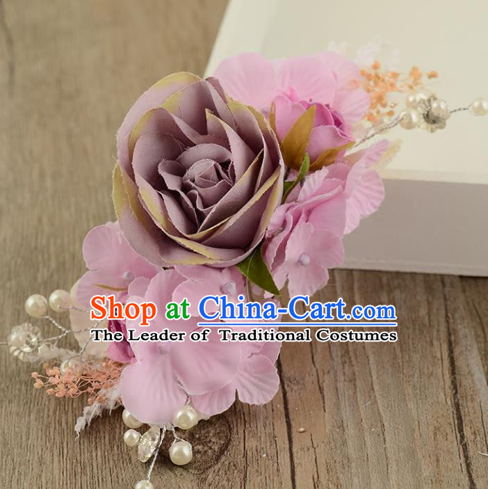 Top Grade Handmade Chinese Classical Hair Accessories Princess Wedding Baroque Hair Claw Headwear Purple Flowers Bride Hair Stick for Women