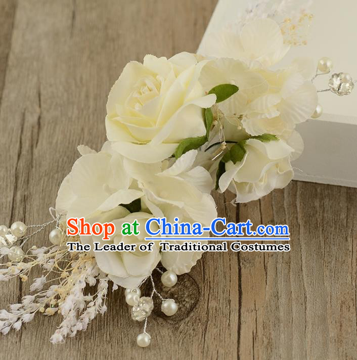 Top Grade Handmade Chinese Classical Hair Accessories Princess Wedding Baroque Hair Claw Headwear White Flowers Bride Hair Stick for Women