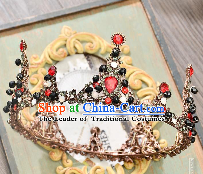 Top Grade Handmade Hair Accessories Baroque Red Rhinestone Round Imperial Crown, Bride Wedding Hair Jewellery Queen Crystal Crown for Women