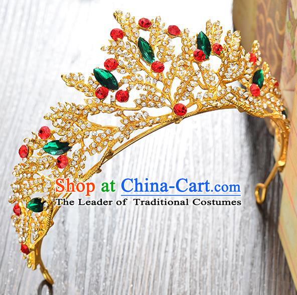 Top Grade Handmade Hair Accessories Baroque Colorful Rhinestone Imperial Crown, Bride Wedding Hair Jewellery Princess Crystal Crown for Women