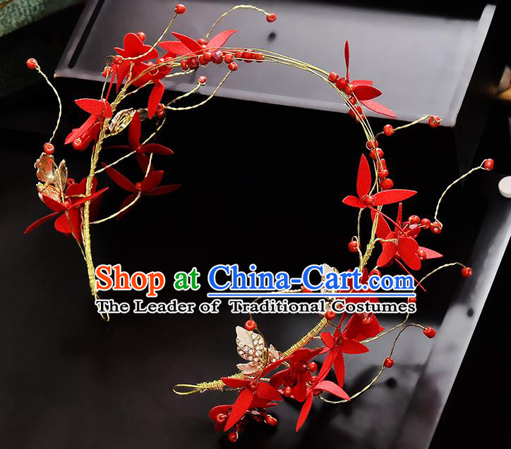 Top Grade Handmade Chinese Classical Hair Accessories Princess Wedding Baroque Headwear Red Flowers Hair Clasp Bride Headband for Women