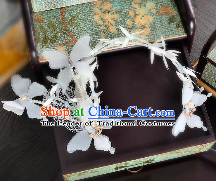 Top Grade Handmade Chinese Classical Hair Accessories Princess Wedding Baroque Headwear White Butterfly Flowers Hair Clasp Bride Headband for Women