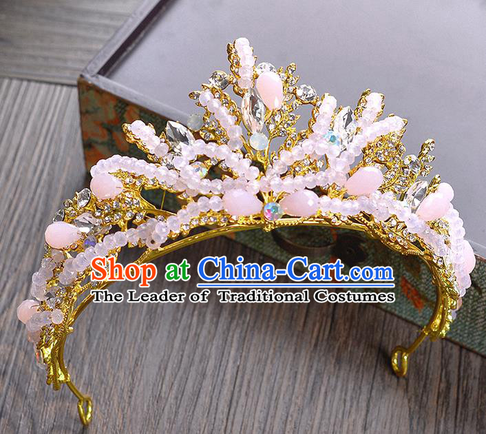 Top Grade Handmade Hair Accessories Baroque Crystal Vintage Pink Beads Imperial Crown, Bride Wedding Hair Jewellery Queen Crown for Women