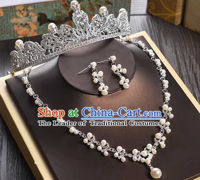 Top Grade Handmade Hair Accessories Baroque Crystal Pearls Vintage Imperial Crown and Earrings, Bride Wedding Hair Jewellery Queen Crown for Women