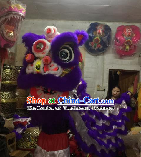 World Lion Dance Competition Purple Fur Lion Head Lion Dance Costumes Complete Set for Adult