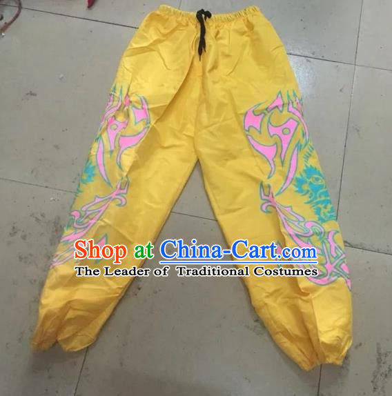 World Lion Dance Competition Costume Lion Dance Pants Adult Size Costumes Yellow Trousers