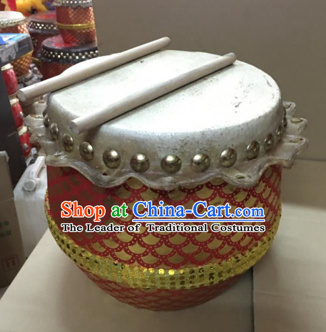 Dragon Dance Lion Dance Red Drum Cowhide Drum Cart Musical Instrument Children Tupan Complete Set