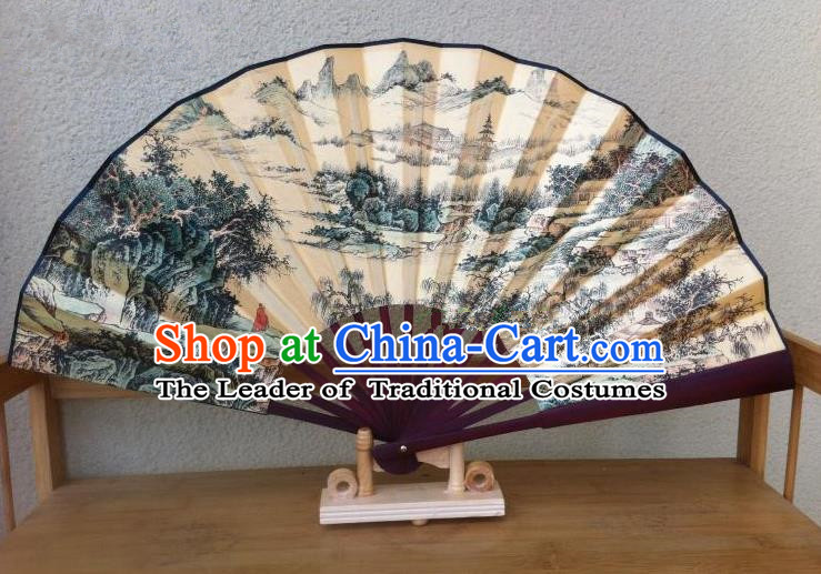 Traditional Chinese Crafts Silk Folding Fan China Sensu Printing Landscape Accordion Fan for Men