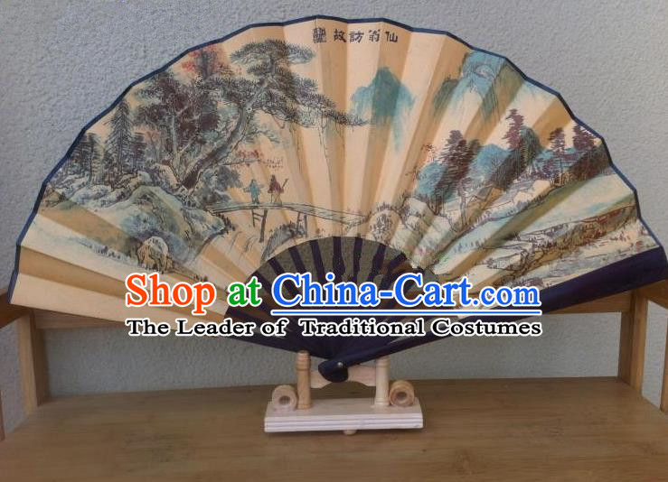 Traditional Chinese Crafts Silk Folding Fan China Sensu Ink Painting Hill Seno Accordion Fan for Men