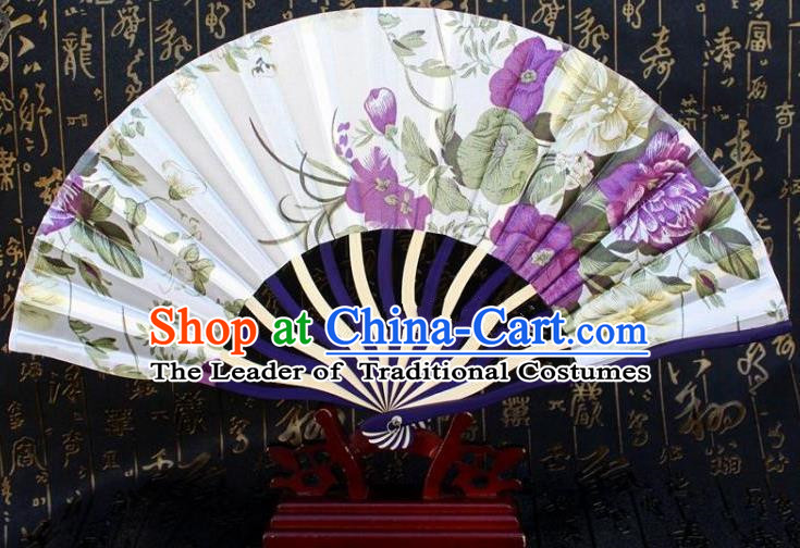 Traditional Chinese Crafts Peking Opera Folding Fan China Sensu Printing Flowers Japan White Silk Fan for Women