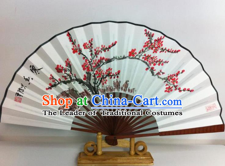 Traditional Chinese Crafts Peking Opera Folding Fan China Sensu Printing Plum Blossom White Paper Fan for Women