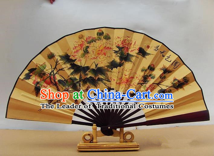 Traditional Chinese Crafts Peking Opera Folding Fan China Sensu Ink Painting Peony Silk Paper Fan