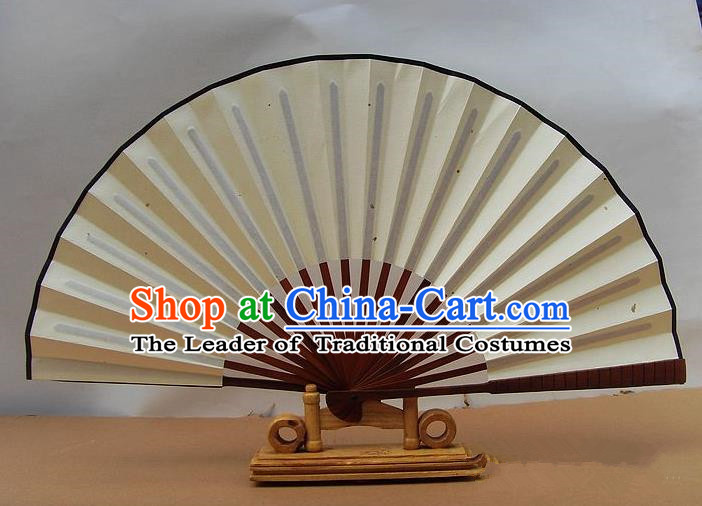 Traditional Chinese Crafts Peking Opera Folding Fan China Sensu Handmade White Xuan Paper Fan