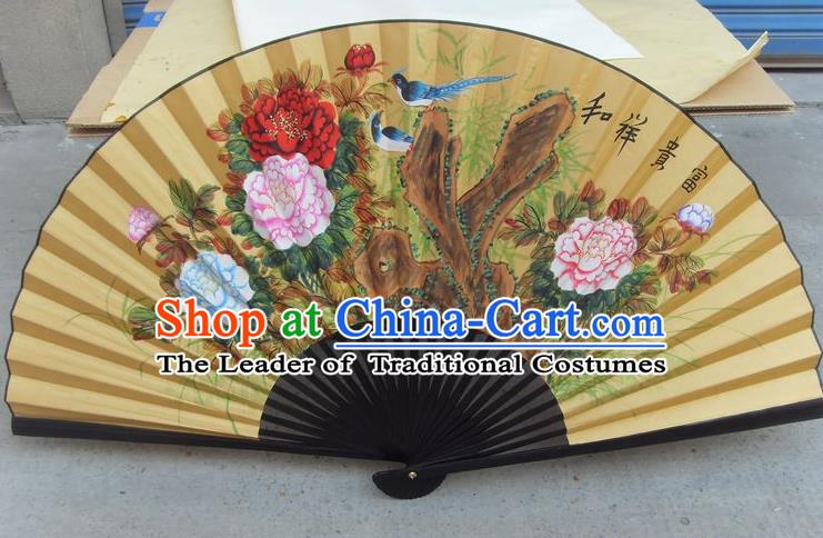 Traditional Chinese Crafts Peking Opera Folding Fan China Sensu Hand Painting Peony Rich Large Xuan Paper Fan