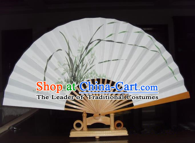 Traditional Chinese Crafts Peking Opera Folding Fan China Sensu Hand Painting Orchid Xuan Paper Fan